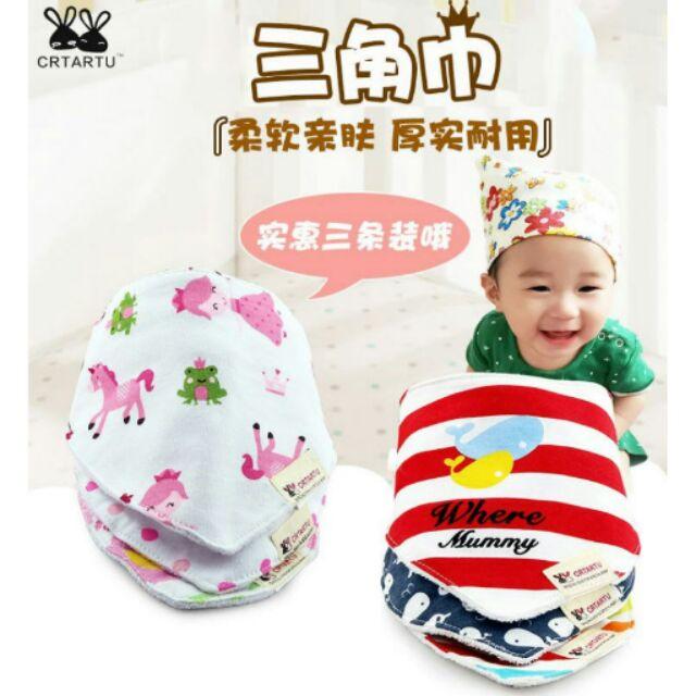 CRTARTU 卡特兔兒童口水巾純棉卡通嬰兒圍嘴圍兜寶寶三角巾BABY 嬰兒寶貝寶寶新生兒