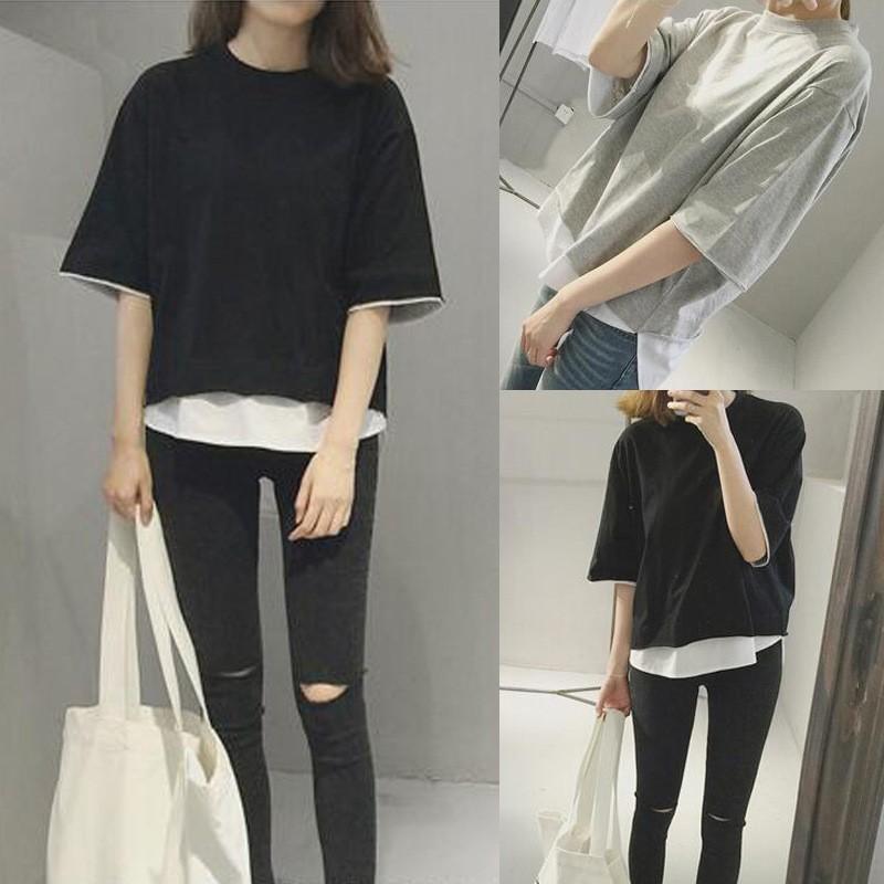 夏裝 簡約寬鬆純色襯衫潮流拼接假兩件短袖T 恤上衣女YZ043