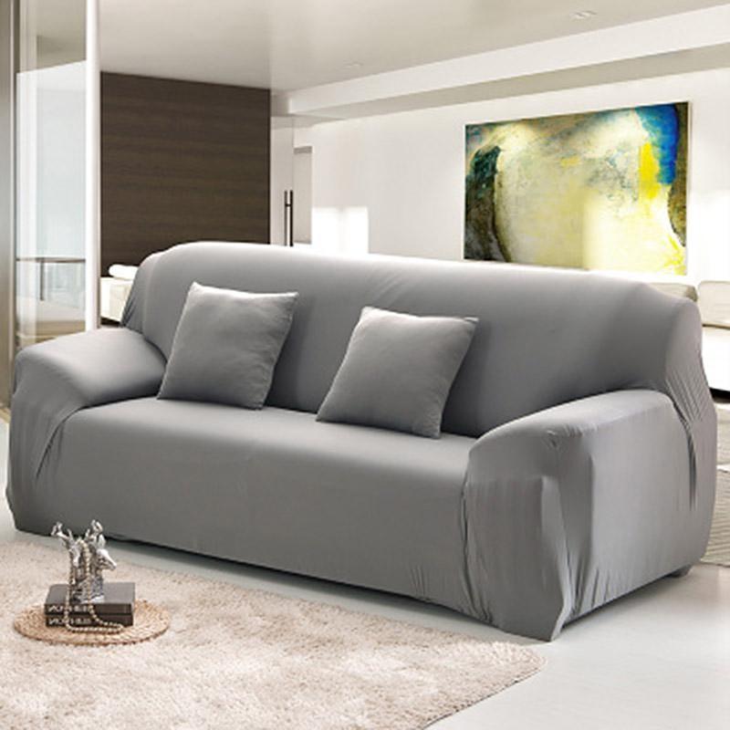 四季 彈力布藝防滑沙發套沙發墊沙發罩雙人灰色