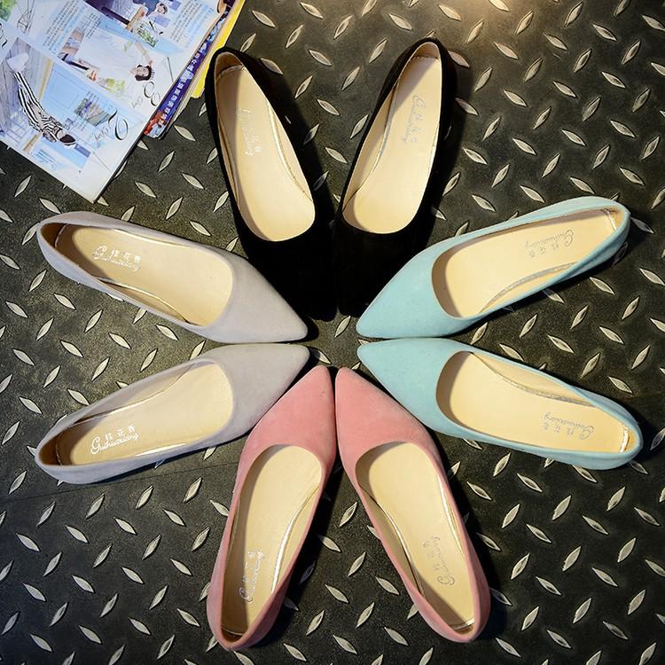 魅力 專營店 防滑女單鞋平底平跟女鞋尖頭淺口絨面百搭休閒工作鞋一腳蹬厚底布鞋女鞋學生樂福鞋