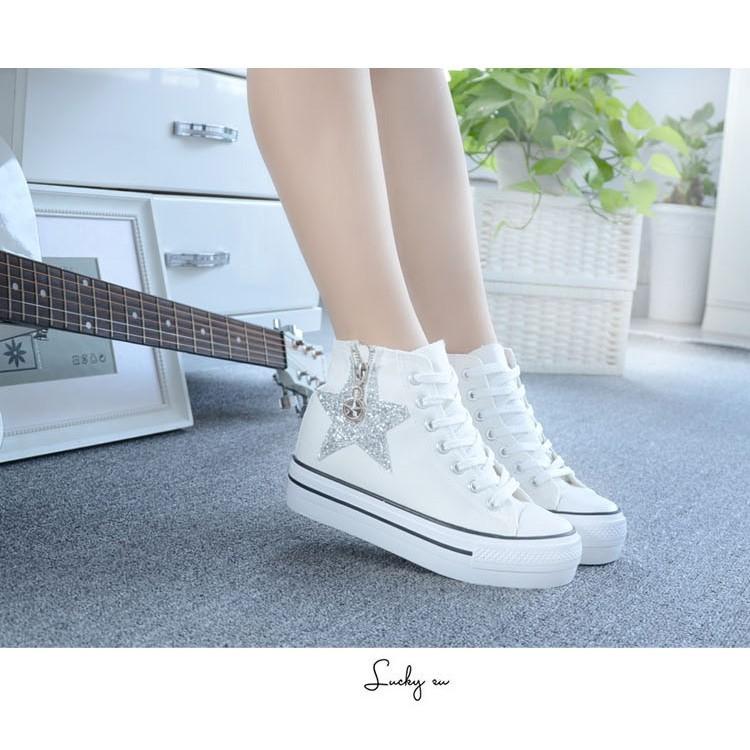 潮帆布鞋女學生高幫板鞋休閒厚底側拉鍊內增高平底板鞋
