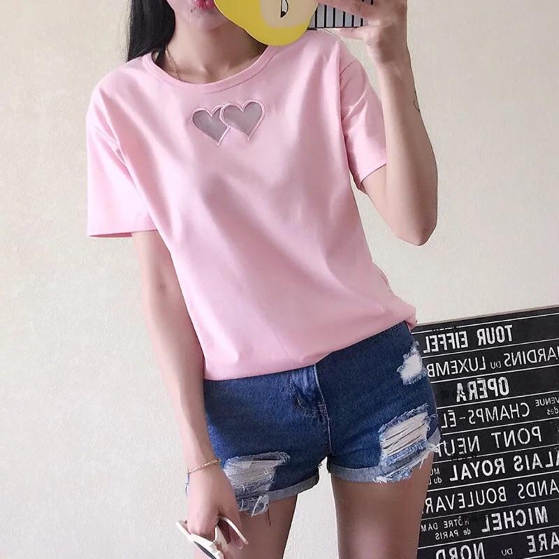 心形鏤空T 恤寬松大碼短袖T 恤性感潮款女上衣