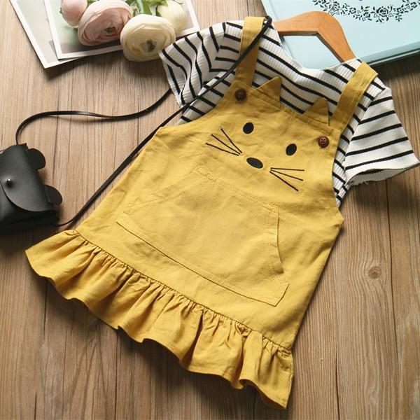 現 女童小老鼠套裝兒童短袖條紋T 恤背帶裙兩件組2017 夏款