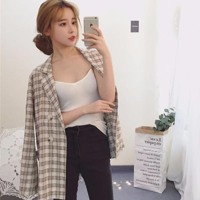 韓國CHIC 英倫風棉麻格子一粒扣小西裝薄外套女潮