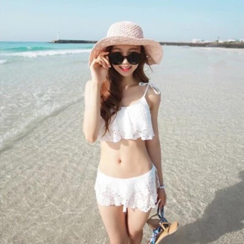 比基尼泳衣兩件式泳裝bikini 白蕾絲小胸鋼圈聚攏裙式