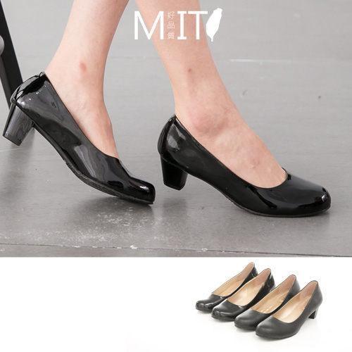 製MIT 面試上班族優雅素面霧面皮面中低粗跟包鞋2 色