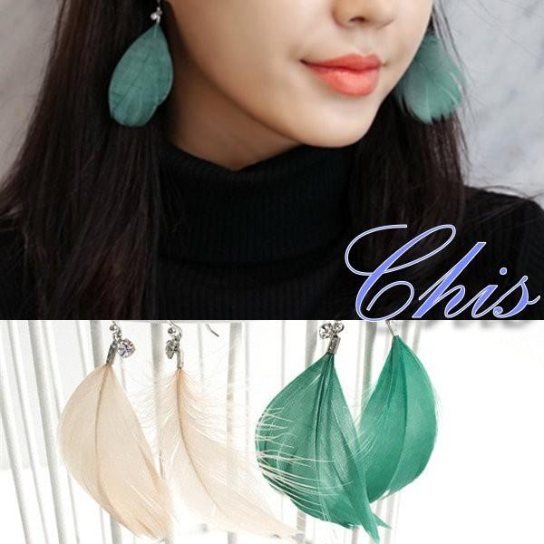Chis Store ~天然羽毛小鑽耳勾~韓國泰妍同款 鳥毛輕盈清新水鑽石垂墜耳環無耳洞夾