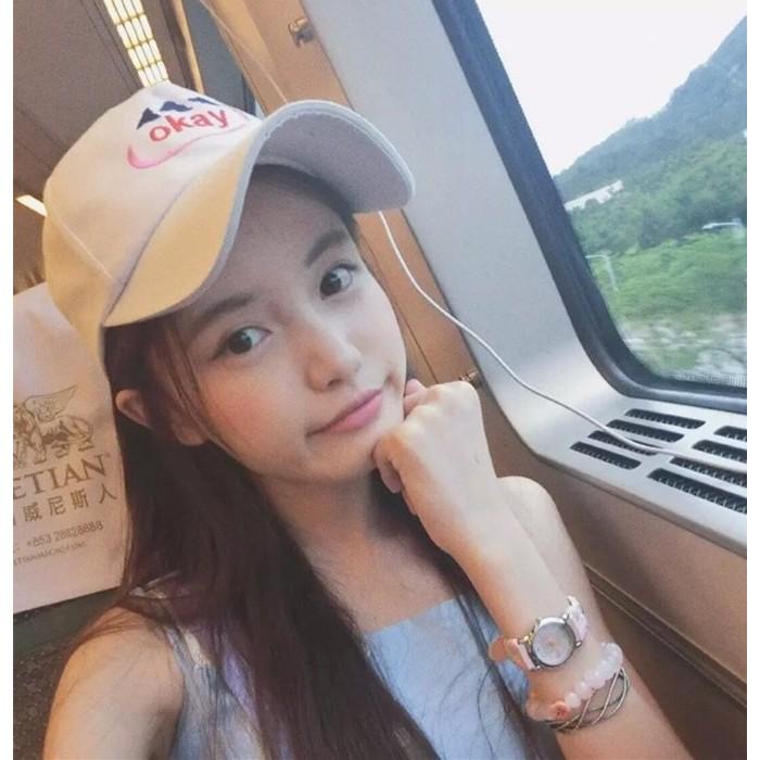 韓國字母純棉嘻哈帽防曬遮陽鴨舌帽百搭休閒OKAY 刺繡棒球帽男女 小清新可調帽子