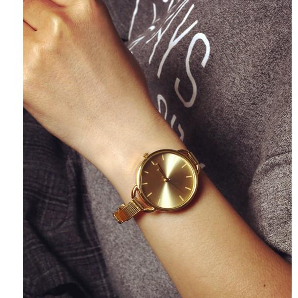 鍍金表土豪金色女錶外貿學生石英手錶金屬細帶 簡約大牌款