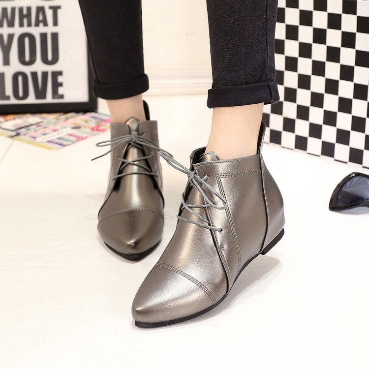 16  休閒女鞋短靴平底內增高靴側雙拉鏈尖頭馬丁靴單靴女