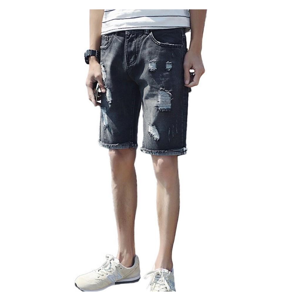 JEANS 牛仔短褲 男中褲彈力男款破洞乞丐裝牛仔五分褲BL15 黑色27 36 碼