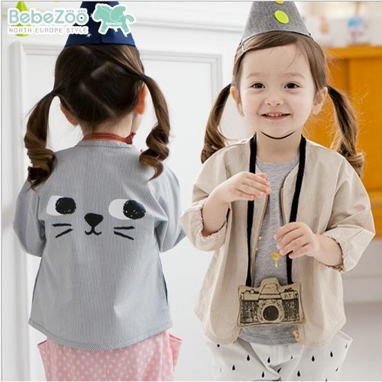 韓國Bebezoo 條紋大臉空調衫罩衫夾克外套