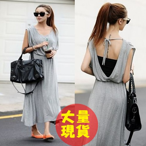 洋裝 休閒棉性感露背綁帶長洋裝