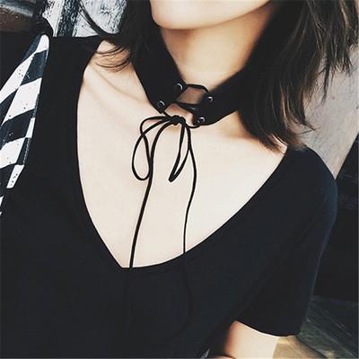 百搭獨特 仿麂皮絨綁帶繫帶寬版頸鍊項鍊