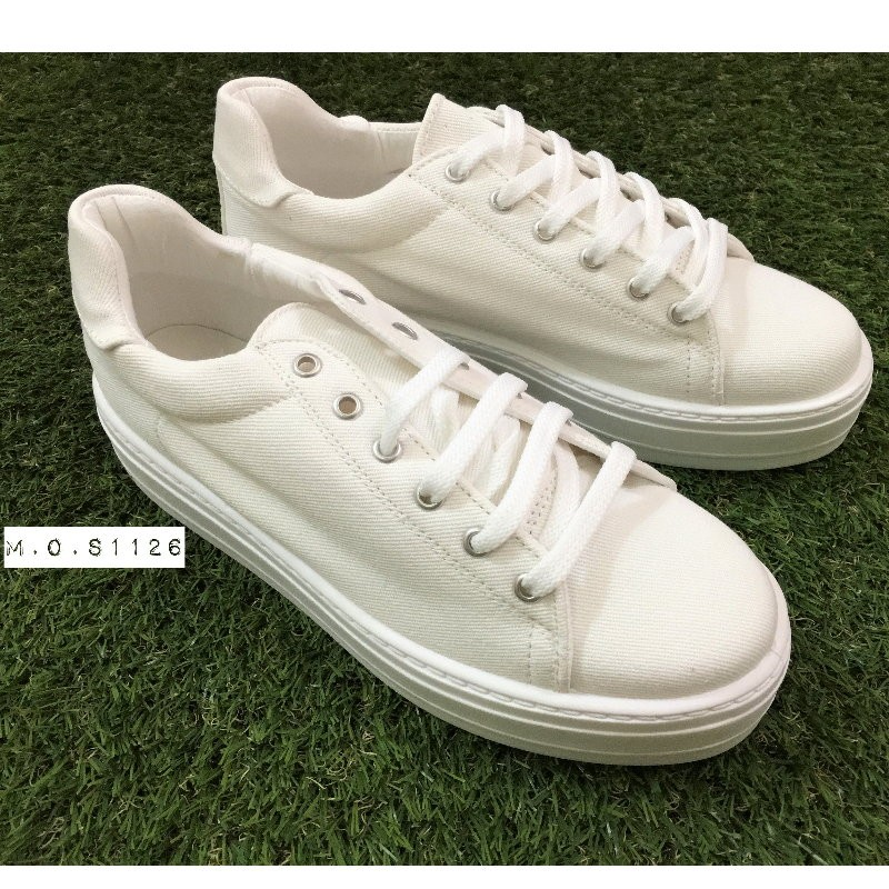 M O S1126 英國ASOS Day Flatforms 白色女版柔軟帆布鞋厚底鞋增高