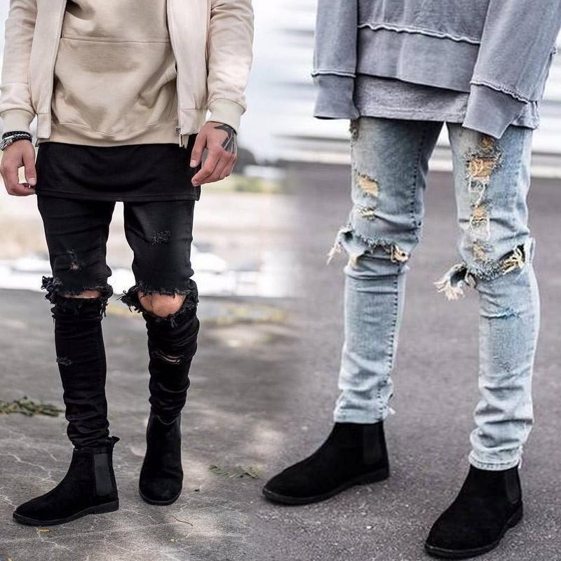 ~ 來襲~高街GD 同款SLP 大破坏修身牛仔裤潮男膝盖破洞小脚裤