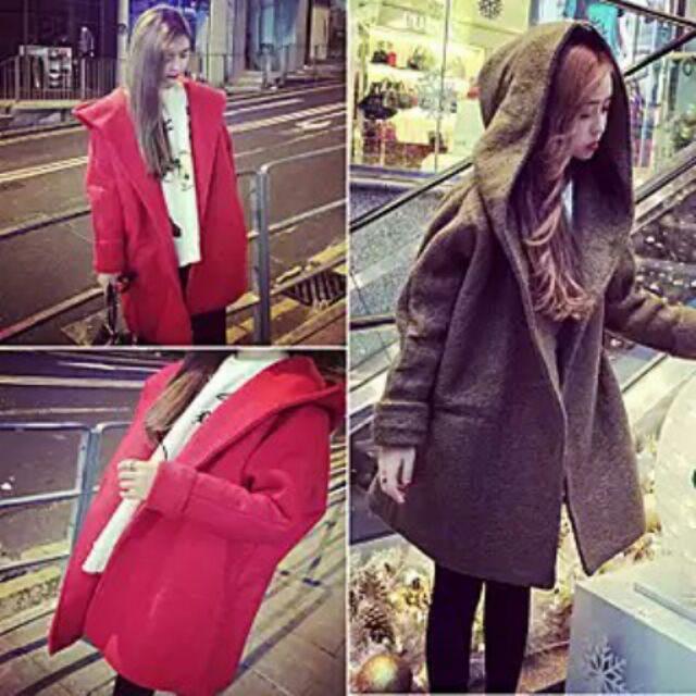 學生潮蝙蝠袖中長款長袖連帽毛呢大衣外套貨號Y110858