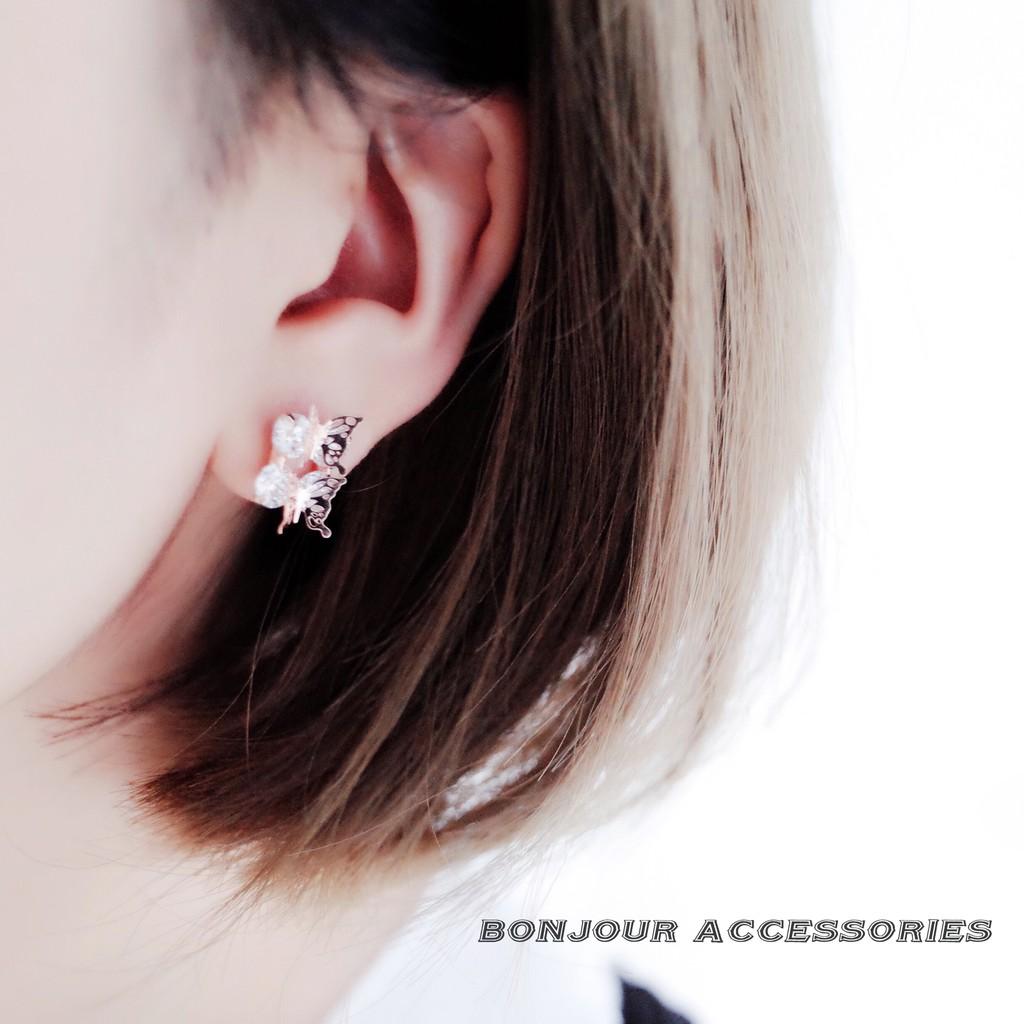 Bonjouracc 正韓925 銀針鋯石雙蝶蝴蝶耳環浪漫耳環純銀耳針