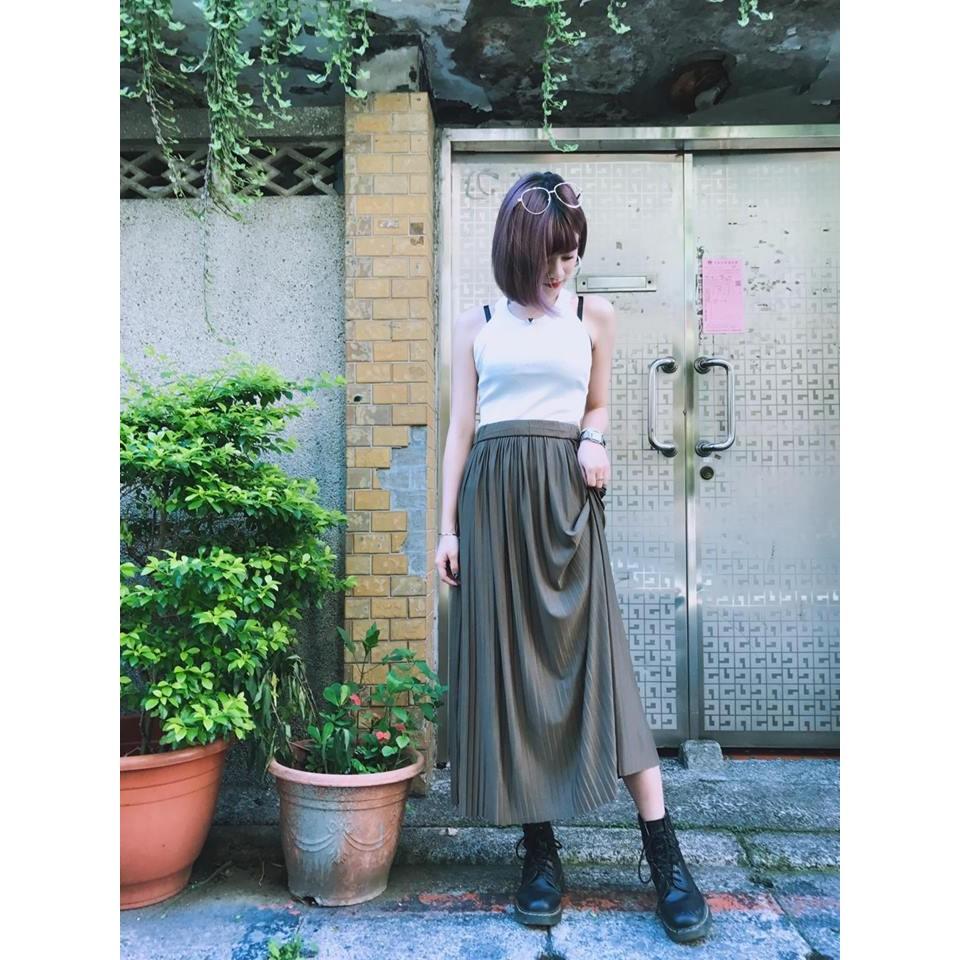 M1058 壓褶過膝裙百褶休閒長裙氣質復古百搭簡約 簡單度假渡假親膚舒適好穿