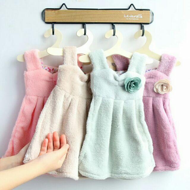 韓國 可愛優雅公主裙擦手巾挂式超強吸水珊瑚絨手帕擦手布毛巾