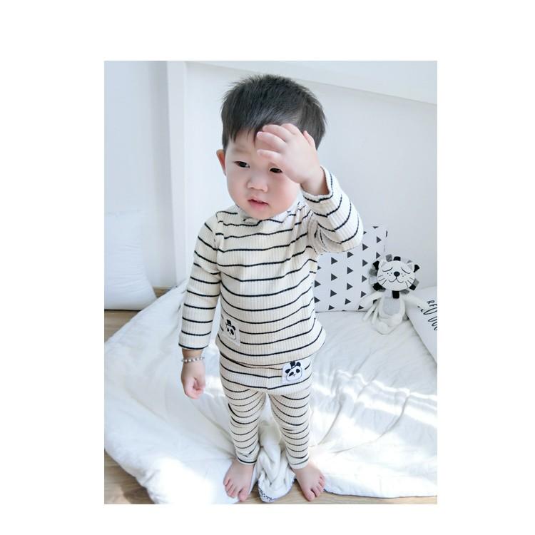 ~下單前 ~Ins 兒童小童男女童寶寶熊貓全棉條紋家居服套裝 款