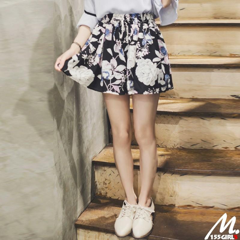 M 小個子韓藍紫色印花顯瘦雪紡褲裙拉長比例效果超好小個子穿搭嬌小女孩150 挑高穿搭~15