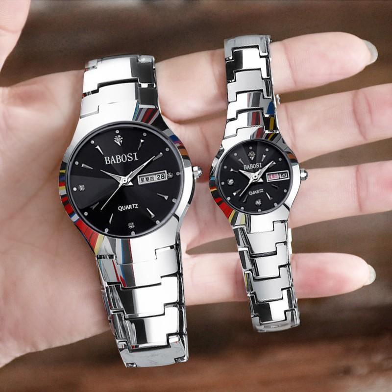 0A 電玩街潮流情侶一對 簡約鋼帶石英防水手表男女學生 夜光 手表