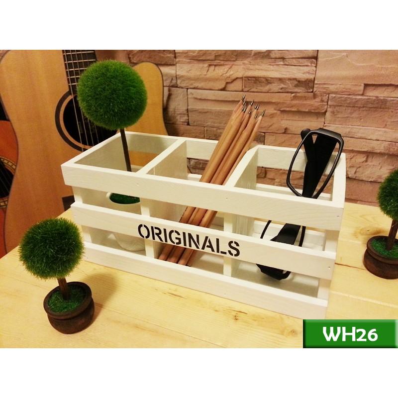 實木三格縷空筆筒北歐白WH26 筆筒文具盒遙控器盒工業風北歐LOFT 復古美式