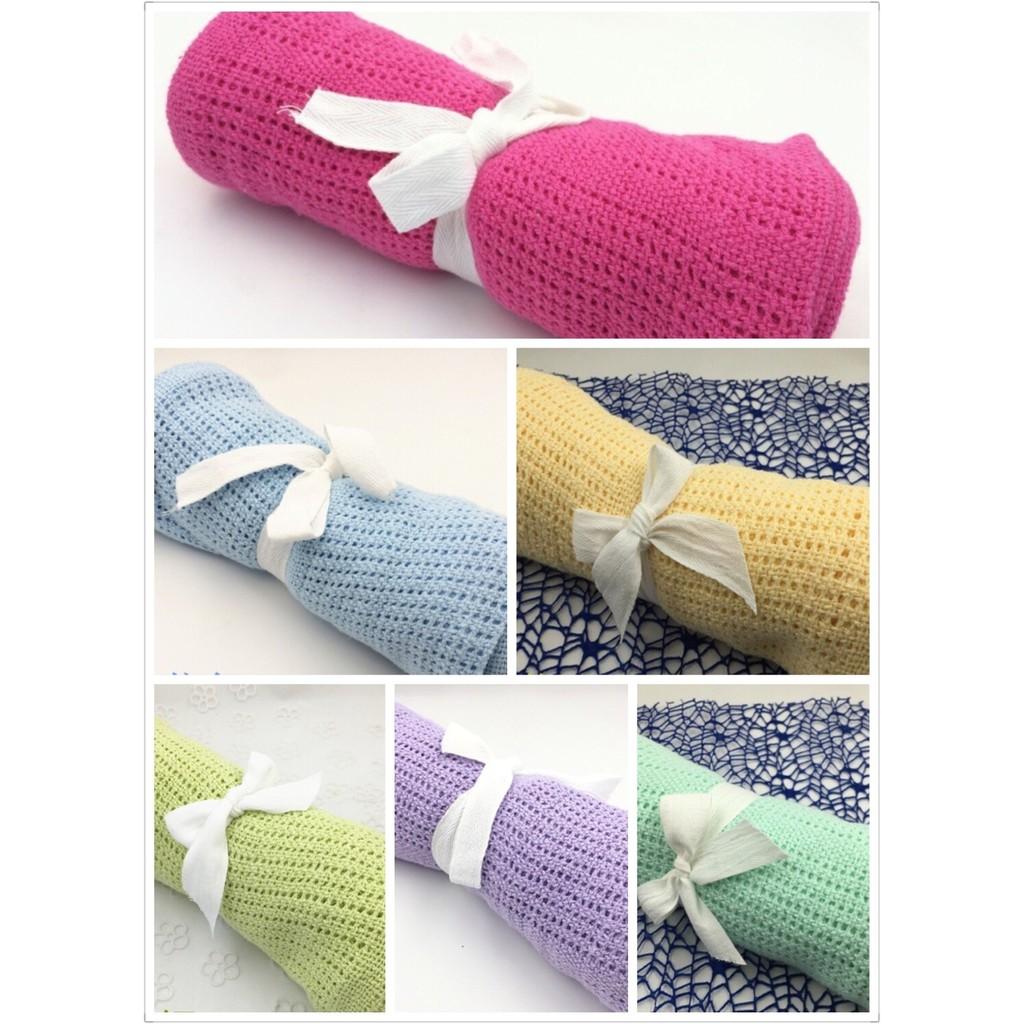 ~ ~馬卡龍全棉洞洞毯冷氣毯嬰幼兒必需品透氣針織毯四季 純棉舒適70 90