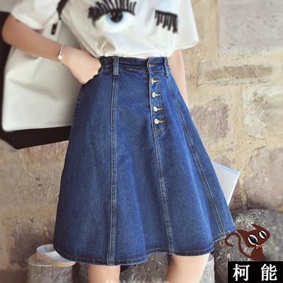 A 字裙~6854 ~牛仔中長款高腰裙