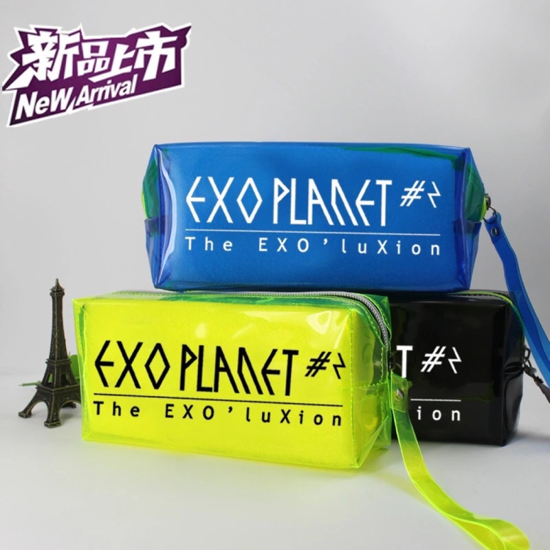 EXO 筆袋酷炫螢光撞色筆袋大容量exo 筆袋化妝包