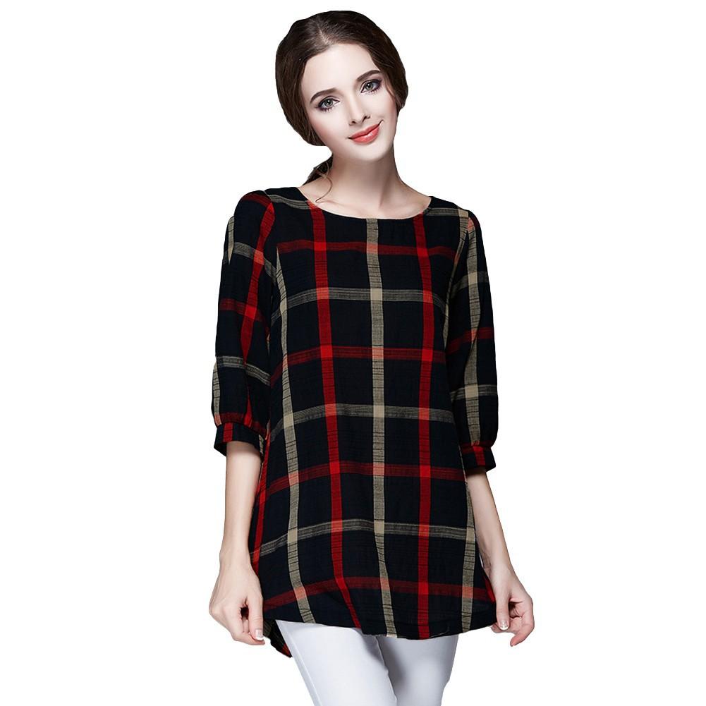 女裝  上衣格子印花圓領七分袖不規則下擺 百搭復古風寬松T 恤圓領七分袖襯衫紅