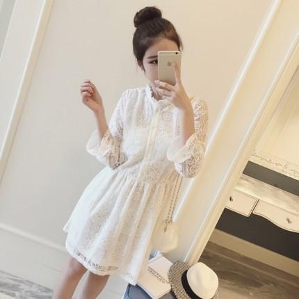 ◤liweike ◥正韓洋裝蕾絲洋裝約會 白色雪紡氣質洋裝伴娘小禮服氣質收腰立領長裙黑色洋
