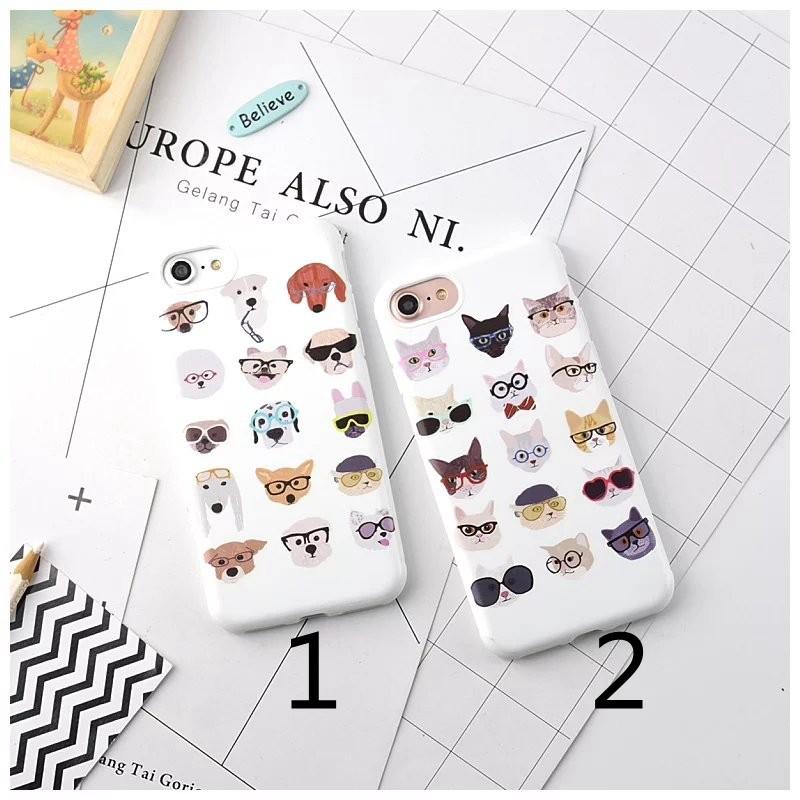 糖果軟殼系列iPhone6 7plus 保護殼貓星人汪星人眼鏡裝帥情侶款手機殼