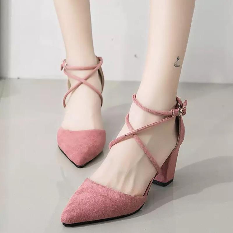 2016  尖頭高跟鞋女單鞋粗跟淺口交叉帶扣絨面女鞋粉色