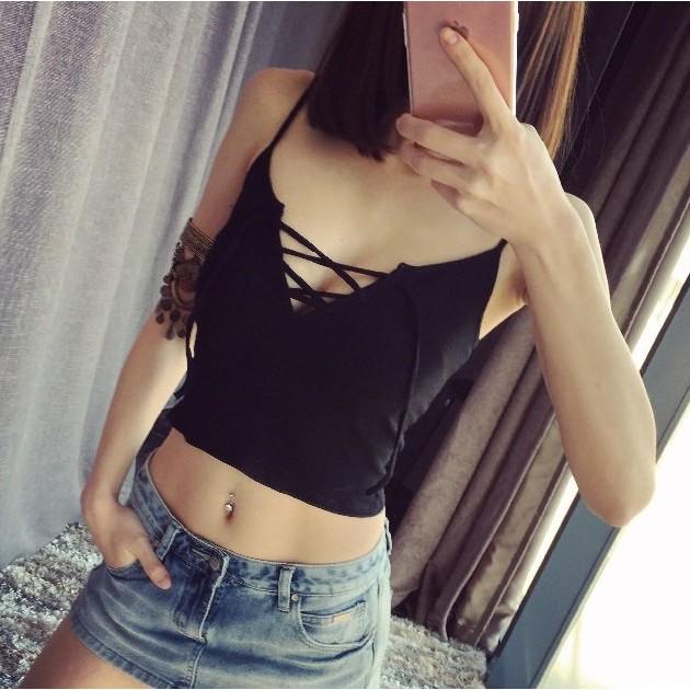 每件120 綁繩露臍短款交叉綁帶性感背心小可愛韓國針織螺紋性感綁帶小背心