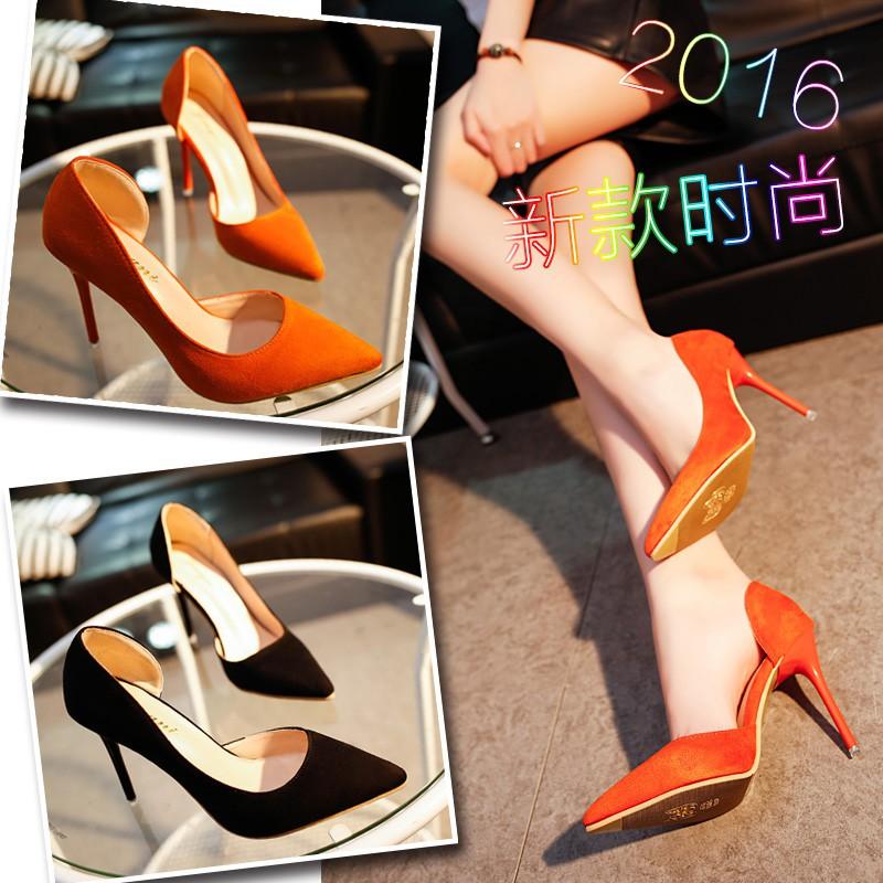 2017 韩版 女鞋性感侧空夜店鞋子尖头细跟高跟鞋绒面百搭单鞋夏