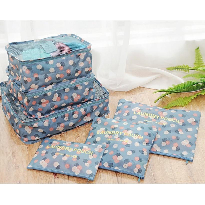 ~杰元 館~淺藍花朵DINIWELL 加大加厚防水行李箱旅行衣物內衣整理分類收納袋六件套