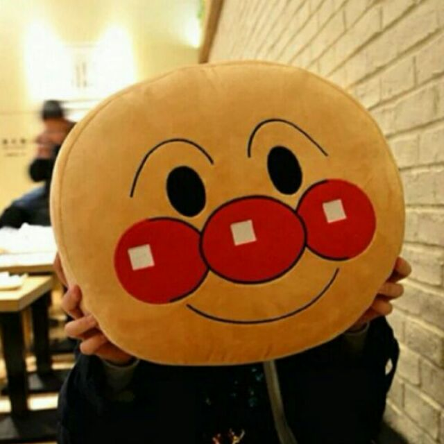 臉型麵包超人抱枕細菌人抱枕靠墊靠墊枕枕頭