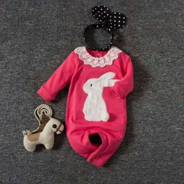 女寶桃色小兔子連身衣120 無髮飾及裝飾品