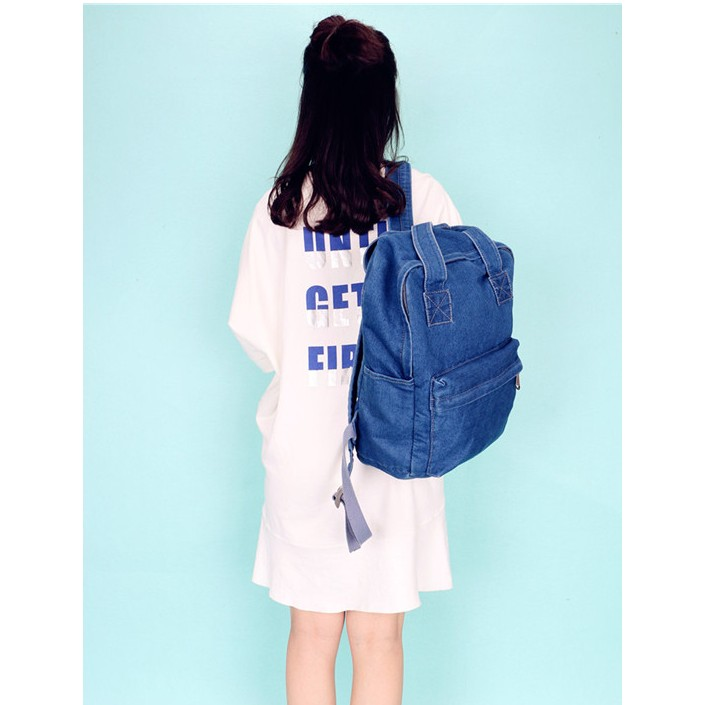 韓國 女包牛仔水洗女包 百搭布包後背包雙肩包潮女復古百搭學院風書包休閒背包6