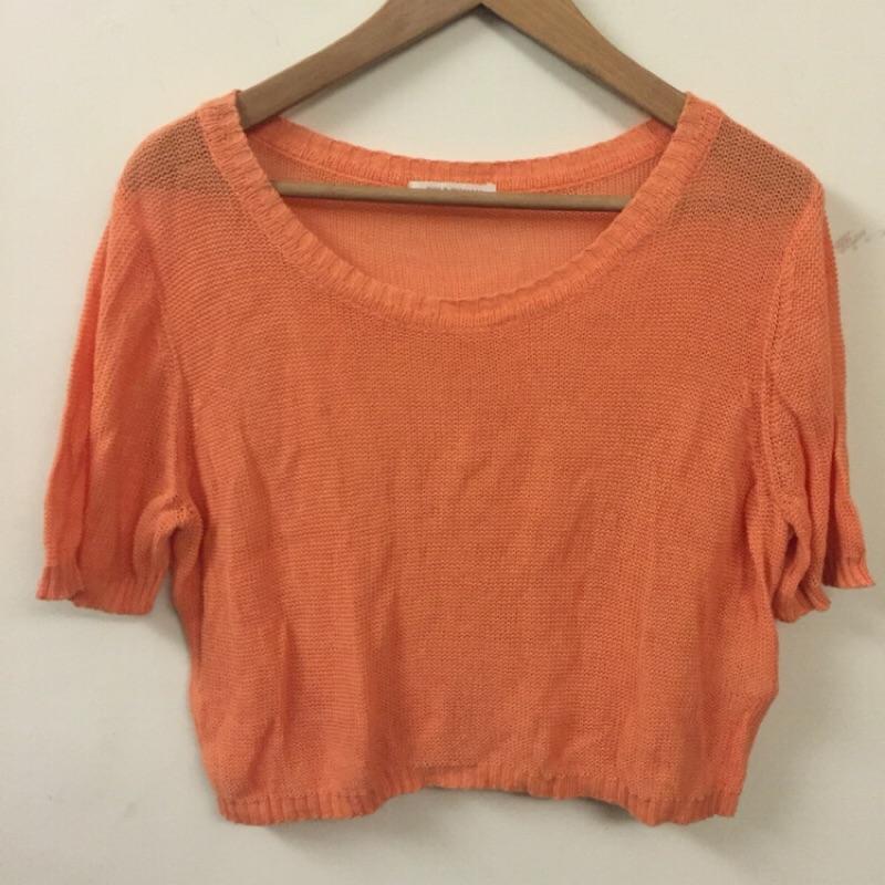 復古vintage 日系品牌百搭 橘針織罩衫短袖上衣CHILD WOMAN EARTH E
