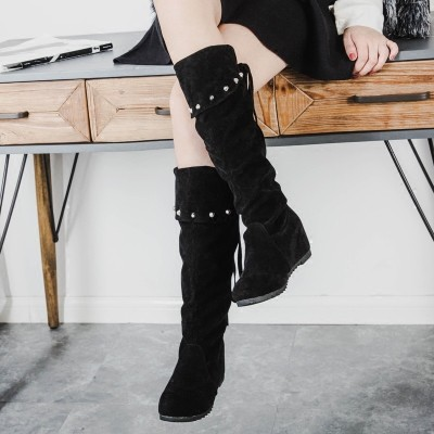 ~靓伊轩~℡2016 秋 瘦腿過膝靴長筒靴子單靴性感蕾絲高筒女靴高跟長靴中跟