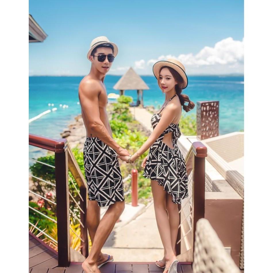 甜蜜 情侶裝泳衣菱格紋露背連身裙式泳衣遮肚顯瘦比基尼沙灘褲可泡湯