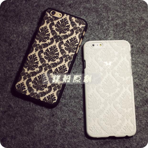 〖鎂殼〗雙11  蕾絲硬殼iPhone7 6s Plus i6 5S 黑色白色手機殼保護殼