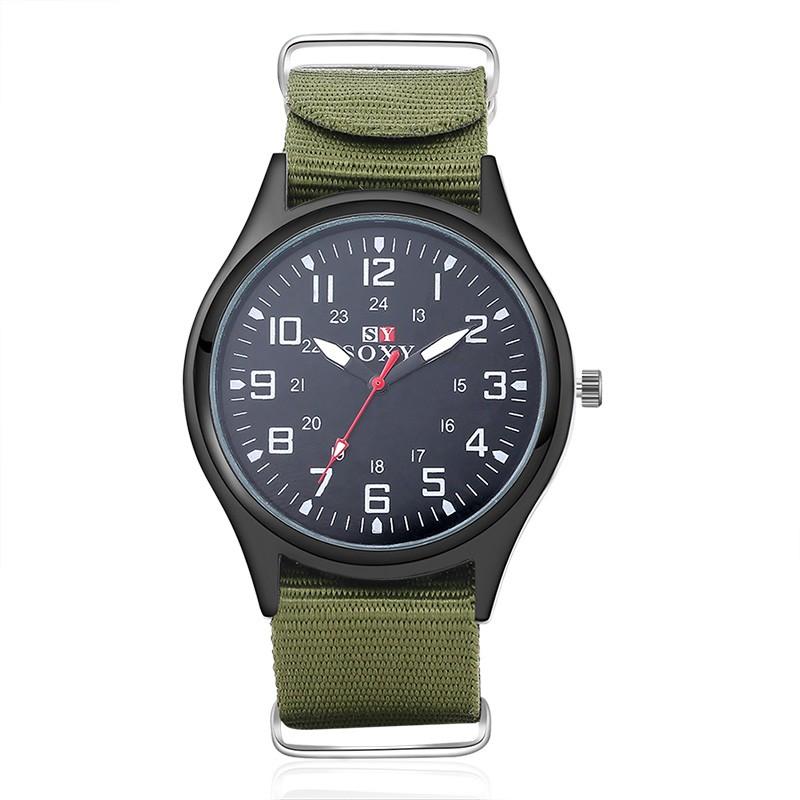 手錶SOXY 男裝品牌男士 石英手錶夜光軍事尼龍錶帶腕錶