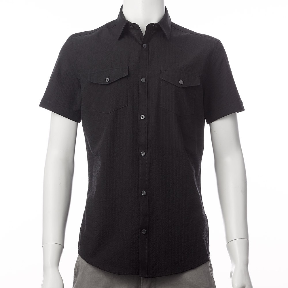 Calvin Klein CK 男短袖襯衫黑Men s Short Sleeve Soli