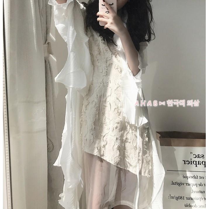 ▼AHA8 ∆韓國兩件超美飄逸女神不規則褶皺感雪紡外罩衫連身裙拼接網紗短裙洋裝187 正韓