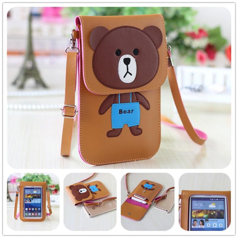 卡通可觸屏蘋果6plus 手機包PU 皮斜挎包零錢包可愛迷你小包包
