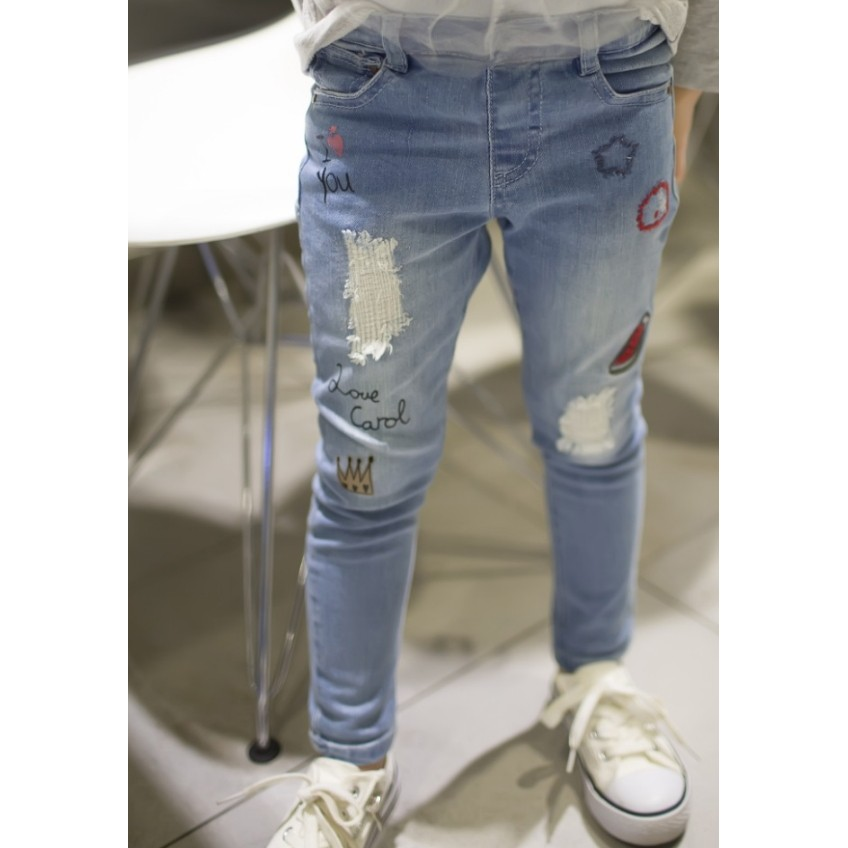 ~Mr Soar ~E206  韓國style 女童刺繡西瓜淺色窄管彈力牛仔褲長褲